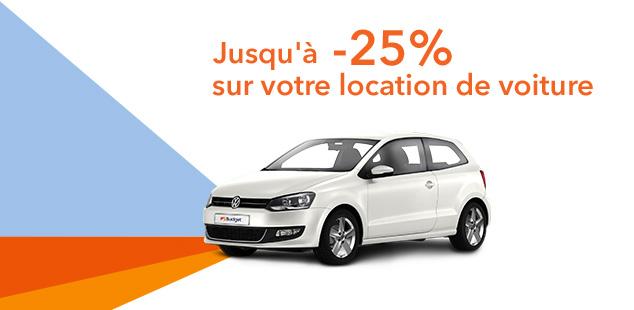 Jusqu'à -25% sur votre location de voiture